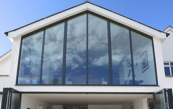 made by gable ends with glass and aluminium